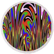 Jancart Drawing Abstract #8455wspc Round Beach Towel
