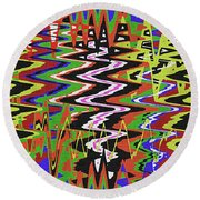 Jancart Drawing Abstract #8455wt Round Beach Towel