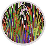Jancart Drawing Abstract #8455wtpc Round Beach Towel