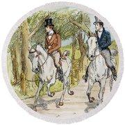 Jane Austen: Illustration Round Beach Towel