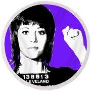 Jane Fonda Mug Shot - Purple Round Beach Towel