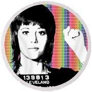 Jane Fonda Mug Shot - Rainbow Round Beach Towel