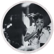 Janelle Monae Playing Live Round Beach Towel