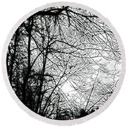 January Beauty 2 Black And White  Round Beach Towel