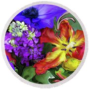 January Bouquet Round Beach Towel