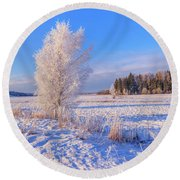 January Day Round Beach Towel