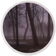 January Fog 1 Round Beach Towel