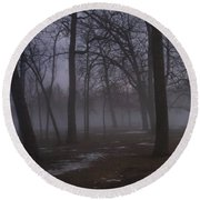 January Fog 2 Round Beach Towel