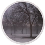 January Fog 4 Round Beach Towel