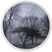 January Fog 6 Round Beach Towel