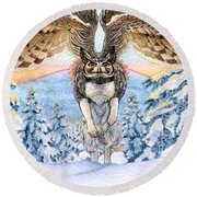January Gryphon Round Beach Towel