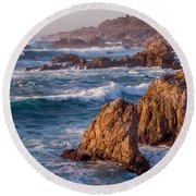 January In Big Sur Round Beach Towel
