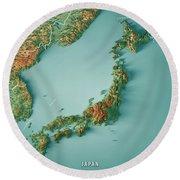 Japan 3d Render Topographic Map Border Round Beach Towel