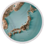 Japan 3d Render Topographic Map Neutral Border Round Beach Towel