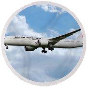 Japan Airlines Boeing 787 Dreamliner Round Beach Towel