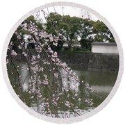 Japan Cherry Tree Blossom Round Beach Towel