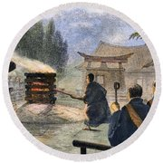Japan: Cremation, 1890 Round Beach Towel