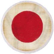 Japan Flag Round Beach Towel by Setsiri Silapasuwanchai