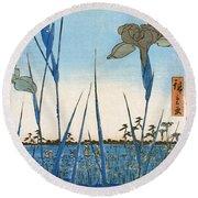 Japan: Iris Garden, 1857 Round Beach Towel