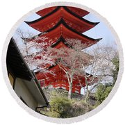 Japan Itsukushima Temple Round Beach Towel