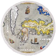 Japan: Map, 1606 Round Beach Towel