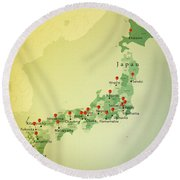 Japan Map Square Cities Straight Pin Vintage Round Beach Towel