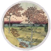 Japan: Maple Trees, 1858 Round Beach Towel
