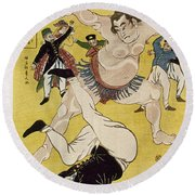 Japan: Sumo Wrestling Round Beach Towel