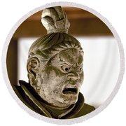 Japan: Warrior Statue Round Beach Towel