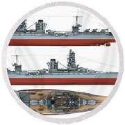 Japanese Battleship Ise Round Beach Towel