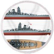 Japanese Battleship Yamato Round Beach Towel