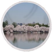 Japanese Cherry Blossom Trees Round Beach Towel