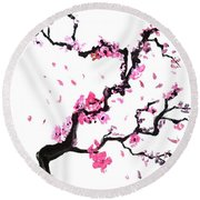 Japanese Cherry Blossoms Round Beach Towel