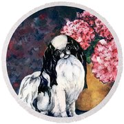 Japanese Chin And Hydrangeas Round Beach Towel