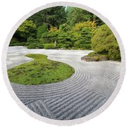 Japanese Flat Garden With Checkerboard Pattern Round Beach Towel