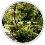 Japanese Garden At Butchart Gardens In Spring Round Beach Towel