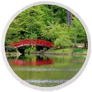 Japanese Garden Bridge  Round Beach Towel
