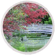 Japanese Garden Bridge In Springtime Round Beach Towel