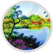 Japanese Garden In Spring Round Beach Towel