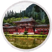 Japanese Garden Round Beach Towel
