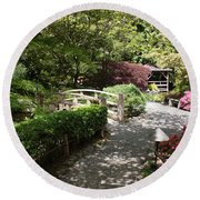Japanese Garden Path With Azaleas Round Beach Towel