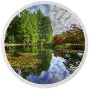 Japanese Garden Pond I Round Beach Towel
