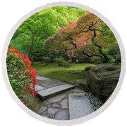 Japanese Garden Strolling Stone Path Round Beach Towel