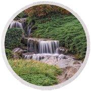 Japanese Gardens Waterfall Round Beach Towel
