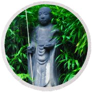 Japanese House Monk Statue Round Beach Towel
