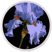 Japanese Iris-blue Beauty Round Beach Towel