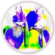 Japanese Iris Pop Art Abstract Round Beach Towel