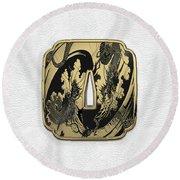 Japanese Katana Tsuba - Golden Twin Dragons On Black Steel Over White Leather Round Beach Towel