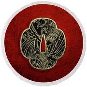 Japanese Katana Tsuba - Golden Twin Koi On Black Steel Over Red Velvet Round Beach Towel