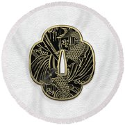 Japanese Katana Tsuba - Golden Twin Koi On Black Steel Over White Leather Round Beach Towel